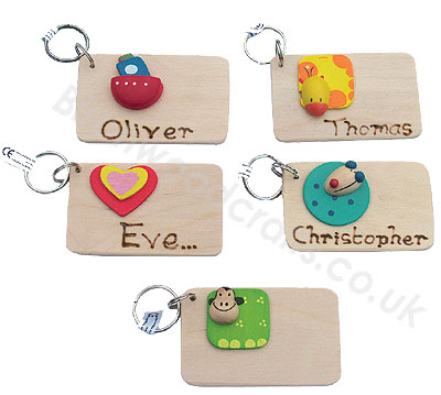 Handmade Personlised Wooden Key Rings - £1.99