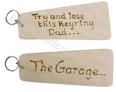 Handmade Personlised Wooden Key Rings Large - £2.99